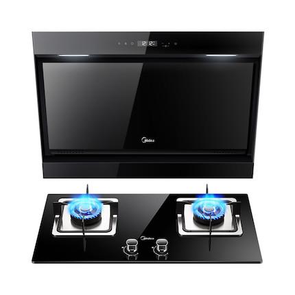 【送煎锅】【蒸汽洗】烟灶套装 黑晶面板高颜值 DJ570R+Q360B
