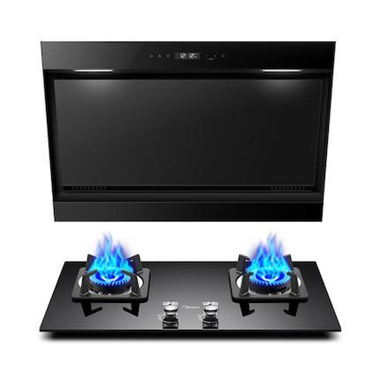 【送刀具】【蒸汽洗】烟灶套装 黑晶面板 一级能效 DJ570R+Q216B